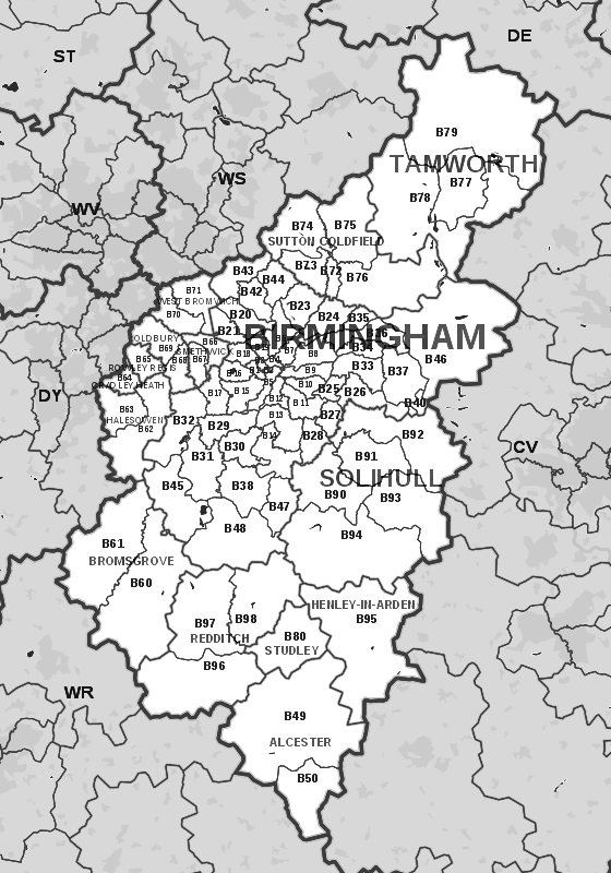 grabhire birmingham  covered areas